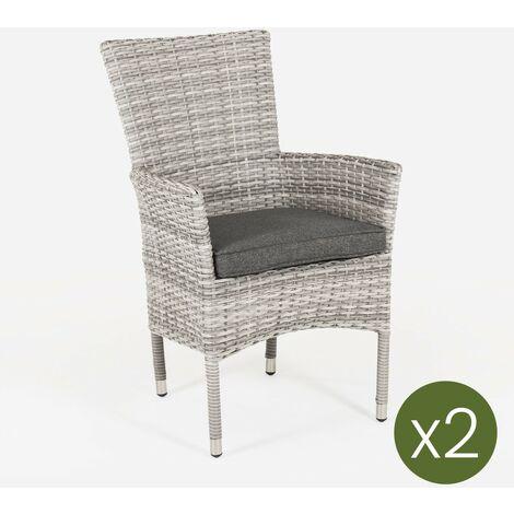 Pack 2 sillones de exterior apilables | Tamaño: 55x62x92 cm | Aluminio y rattán sintético color gris | Cojín antracita | Portes gratis - Gris-plano