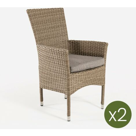 Pack 2 sillones de exterior apilables | Tamaño: 55x62x92 cm | Aluminio y rattán sintético color natural | Cojín marrón | Portes gratis - Natural-plano