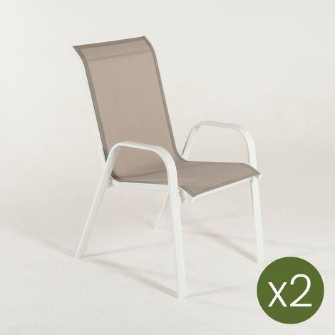 Pack 2 sillones de exterior apilables | Tamaño: 57x74x96,5 cm | Aluminio reforzado