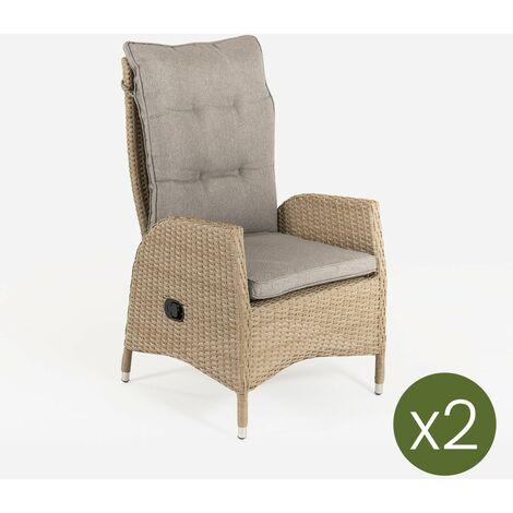 Pack 2 sillones de exterior reclinables | Tamaño: 63x67x120 cm | Aluminio y rattán sintético color natural | Cojín marrón | Portes gratis - Natural-plano