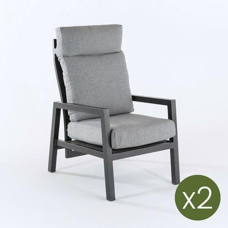 Pack 2 sillones de jardín reclinable con sistema hidráulico, Aluminio reforzado color blanco, Altura sillón 104 cm, Cojines en color gris