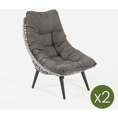 Pack 2 sillones para jardín, Aluminio y rattán sintético Abierto Redondo, Forma de Huevo, Color Gris, Cojin Incluido