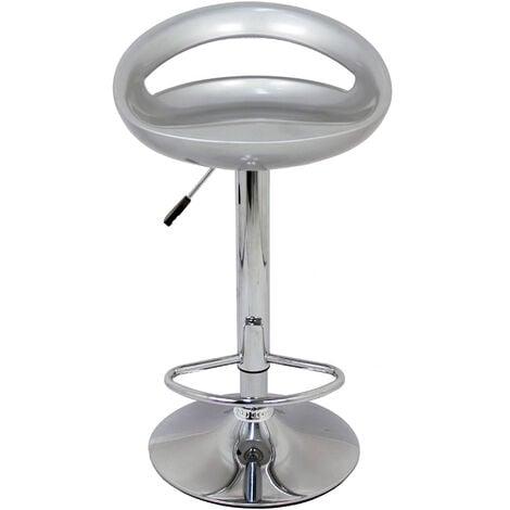 Pack 2 Taburetes con base en cromo y asiento redondo color gris (ABS)