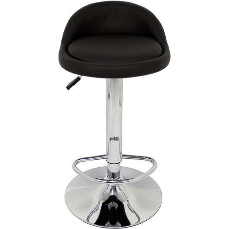 Pack 2 Taburetes con base en cromo y asiento redondo negro (imitación cuero)