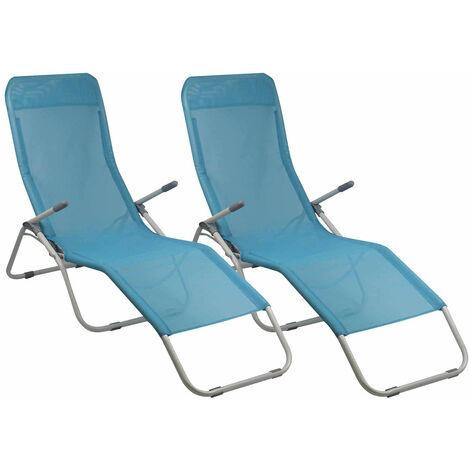 Pack 2 Tumbonas Ajustables 2 Posiciones Textil Azul GH91
