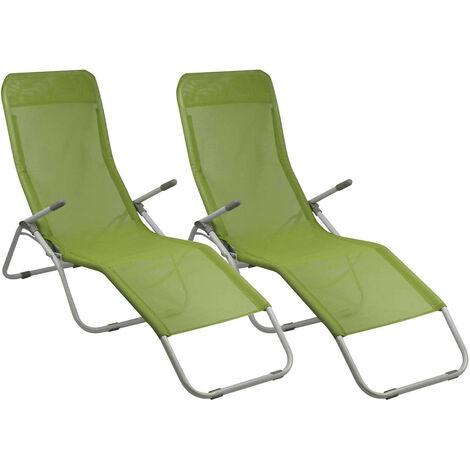 Pack 2 Tumbonas Ajustables 2 Posiciones Textil Verde GH91