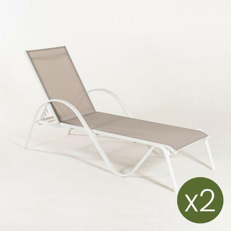 Pack 2 tumbonas jardín reclinable y apilable, Tamaño: 203x64x33 cm, Aluminio blanco y textilene liso color gris