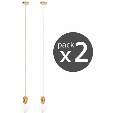 PACK 2 X PENDEL MADERA 1XE27 1,2M Blanco/Negro