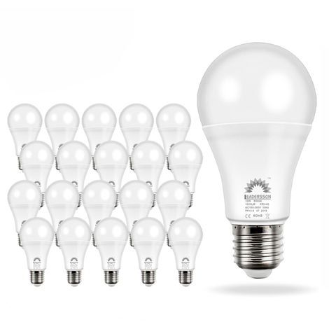 Pack 20 Bombillas LED Bajo Consumo AVILA A60 10W con 850 Lm. · 3000K Blanco Cálido