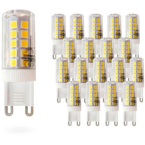 Pack 20 Bombillas LED Bajo Consumo MOSCU G9 (Tubular Cerámica) 5W con 475 Lm. 3000K Blanco Cálido