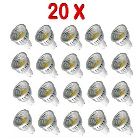 PACK 20 BOMBILLAS LED GU10 COB 5W