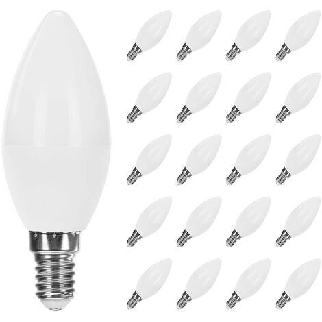 Pack 20 Bombillas LED Vela E14 6W Equi.40W 470lm RaydanHome Temperatura - 3000K