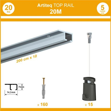 Pack 20 mètres cimaise Top Rail couleur Aluminium anodisé - Cimaise rail plafond pour suspension cadres et tableaux - 15 câbles Micro Perlon 150 cm