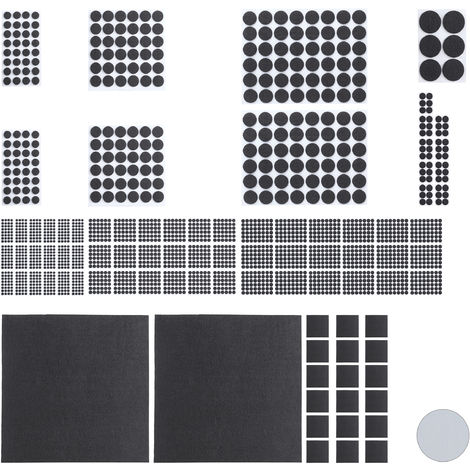 Pack 2400 Piezas Fieltro Adhesivo para Muebles con 20 Hojas Papel Fieltro para Recortar, Negro