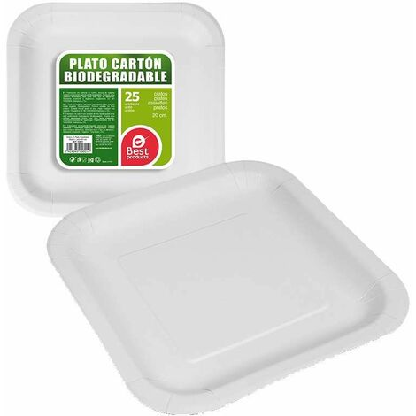 Pack 25ud plato cuadrado blanco cartón 20cm best products green