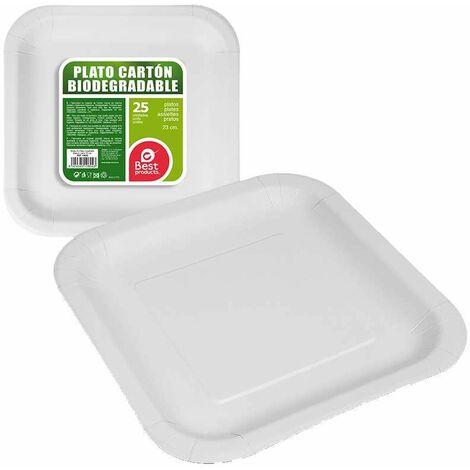 Pack 25ud plato cuadrado blanco cartón 23cm best products green