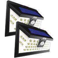 Pack 2x ATID Focos Solares Exterior 46 LED - Luces Solares LED Jardin