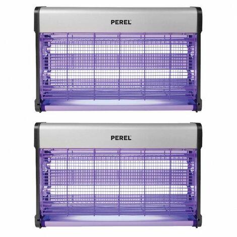 Pack 2x PEREL Destructeur Anti Moustiques Insectes 30W Désinsectiseur UV