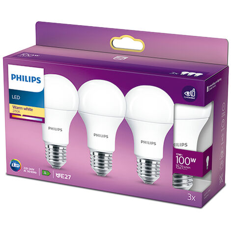 Pack 3 Bombilla LED Philips E27 A60 13W 1521Lm 2700K [PH-929001234535] (PH-929001234535)