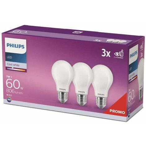 Pack 3 Bombilla LED Philips E27 A60 7W 806Lm 4000K [PH-929001323593] (PH-929001323593)