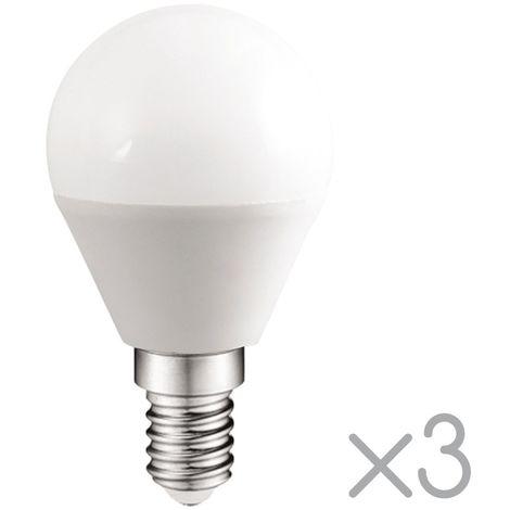 Pack 3 Bombillas LED E14 esférica 5.2W (Luz fría)