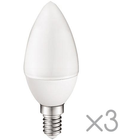 Pack 3 Bombillas LED E14 vela 5.2W (Luz fría)