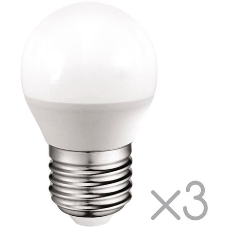 Pack 3 Bombillas LED E27 esférica 5.2W (Luz fría)