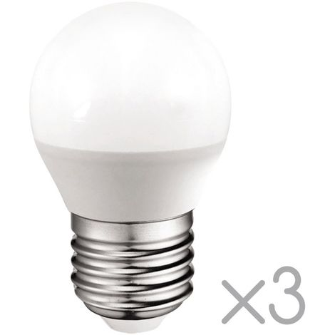 Pack 3 Bombillas LED esférica E27 5.2W (Luz neutra)