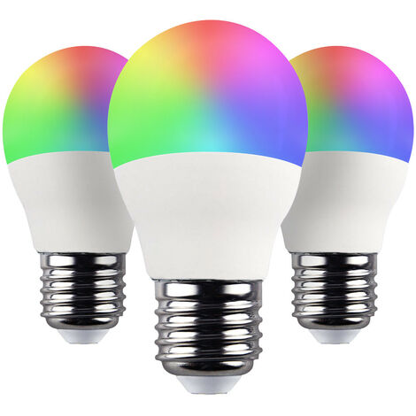 Pack 3 Bombillas LED Esférica Smart WiFi E27 5W Equi.35W 470lm RGBWW Regulable vía Smartphone/APP 25000H 7hSevenOn Home