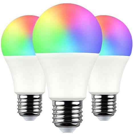 Pack 3 Bombillas LED Estándar Smart WiFi E27 9W Equi.60W 806lm RGBWW Regulable vía Smartphone/APP 25000H 7hSevenOn Home