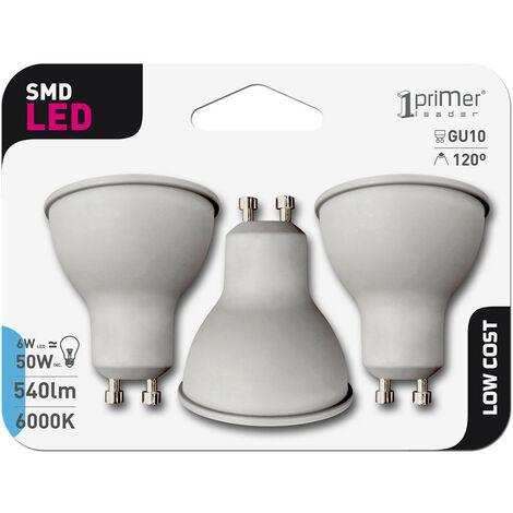 Pack 3 Bombillas LED Spotlight GU10 6W Equi.50W 540lm 15000H 1Primer Low Cost