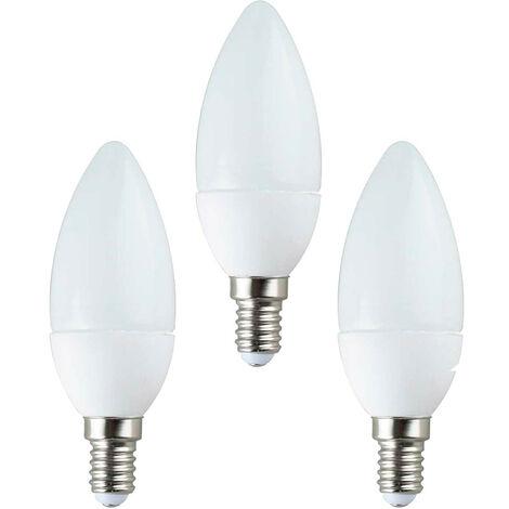 Pack 3 Bombillas LED Vela E14 6W Equi.40W 470lm 3000K 15000H 1Primer Low Cost