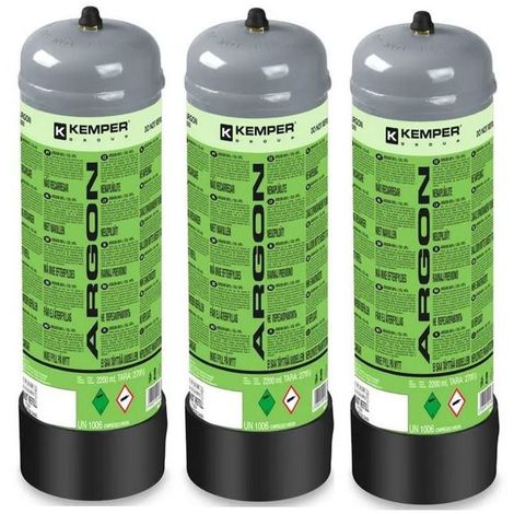 Pack 3 Bouteilles de gaz ARGON + CO2 110 Bar 2.2 Litres KEMPER Soudage semi-automatique Bonbonne gaz Grande contenance Jetable