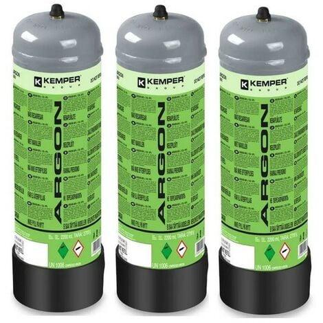Pack 3 Bouteilles de gaz ARGON PUR 110 Bar 2.2 Litres KEMPER Soudage semi-automatique MIG-Bonbonne gaz Grande contenance Jetable
