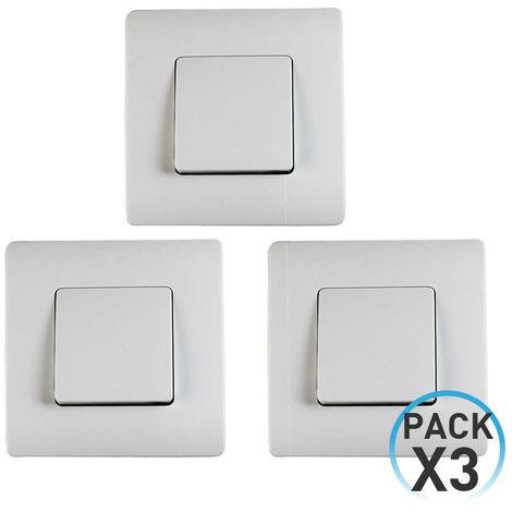 Pack 3 Conmutadores Simples Empotrables 7hSevenOn Elec