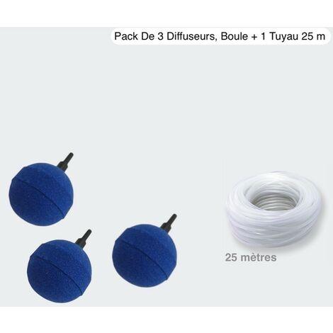 Pack 3 Diffuseurs d'Air, Boule + 1 Tuyau De 25 m, Pour Aération Bassin