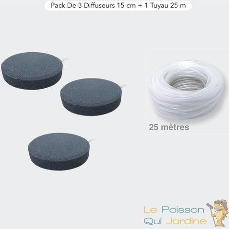 Pack 3 Diffuseurs D'Air, Disques 15 cm + 1 Tuyau De 25 m Pour Bassins