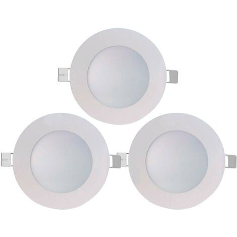 Pack 3 Downlight LED Ultraslim Empotrable Redondo 8W 600lm Ø10,5cm 4000K Blanco 7hSevenOn