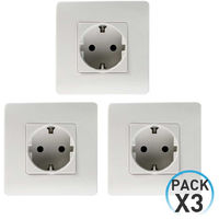 Pack 3 Enchufes Schuko Empotrable