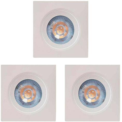 Pack 3 Focos LED Empotrables Orientables Cuadrados GU10 7W 560lm Ø7cm Blanco 7hSevenOn