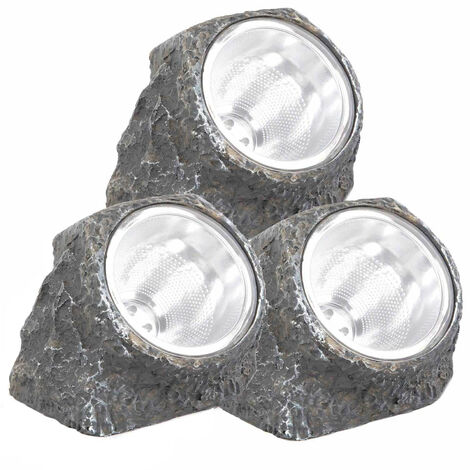 Pack 3 Lámpara Solar LED Crepuscular Piedra Gris Nine&One