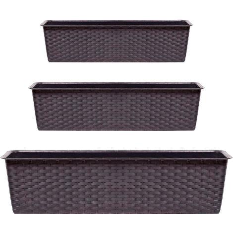 Pack 3 macetas anchas Prosperplast (11,7/13,5/15,3 litros) Ratolla Case de plastico en color ocre oscuro
