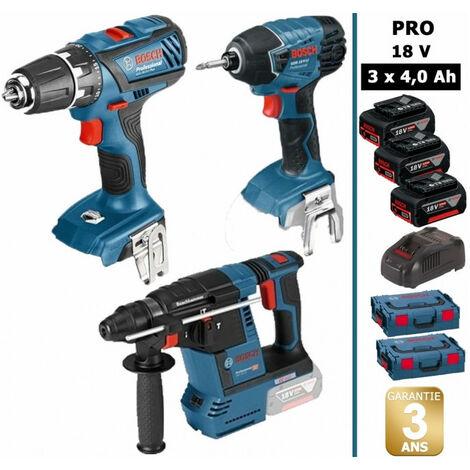 Pack 3 machines 18V: Perceuse 63Nm GSR 18-2LI Plus + Visseuse à chocs 160Nm GDR 18 V-Li + Perforateur 2,6J GBH 18V-26 + 3 batt 4Ah 18V BOSCH