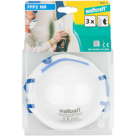 PACK 3 MASCARAS PROTECCION FFP2 NR D WOLFCRAFT - NEOFERR..