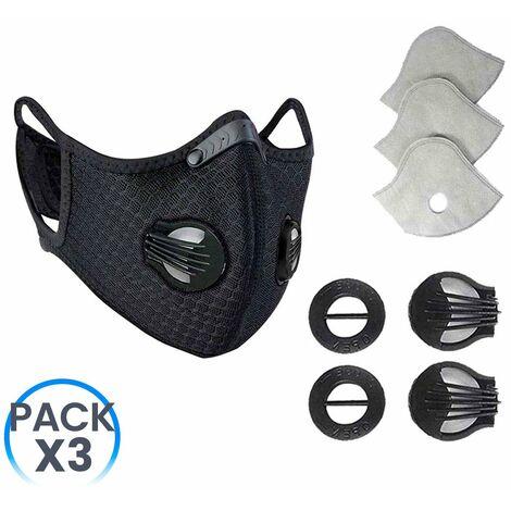 Pack 3 Mascarillas Reutilizables con Doble Válvula Negro + Kit Recambios 18 Filtros y 12 Válvulas O91