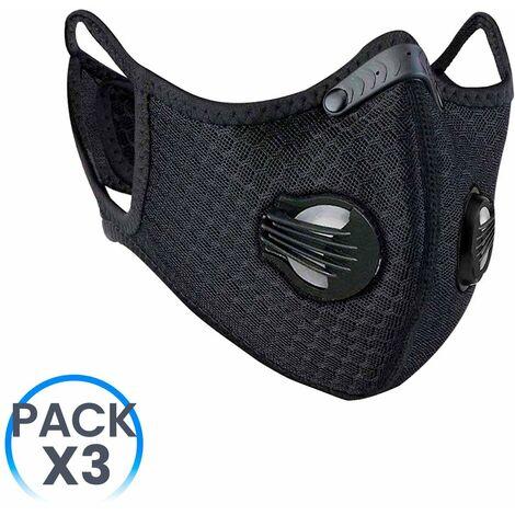 Pack 3 Mascarillas Reutilizables con Doble Válvula Negro O91