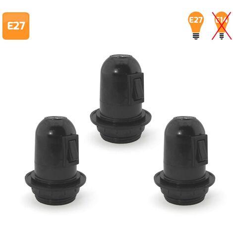 Pack 3 Portalámparas con interruptor y arandela E27 negro