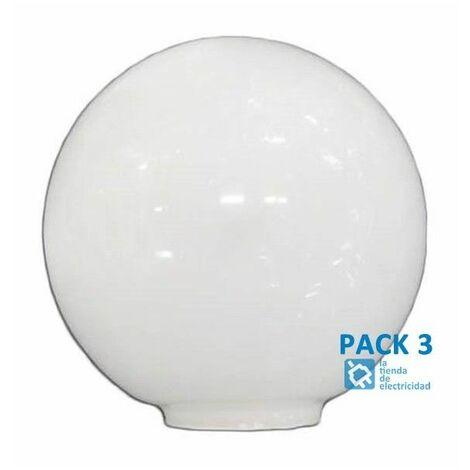 Pack 3 Tulipa de cristal bola opal de 12 cm boca de 5cm LB 529550