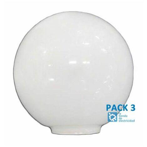Pack 3 Tulipa de cristal bola opal de 14 cm boca de 5cm LB 529551