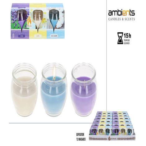 Pack 3 velas perfumadas vaso cristal 60g